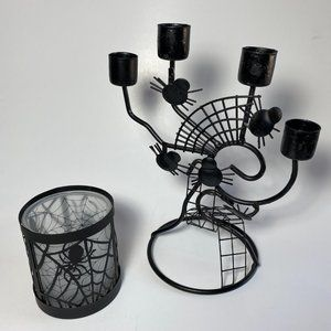 Halloween Duo Candles Holders, Black Metal Spiderwebs, Candle Stick and Votive